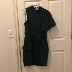 Hunter Green Dress with Ruffle Detail